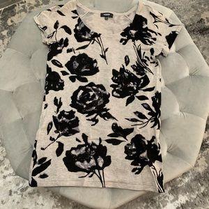 Shirt Sleeve Flower Print Shirt